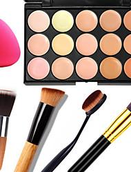 15 Correcteur/Contour+CorrecteurHouppette/Eponge Pinceaux de Maquillage Humide Mat Lueur Visage CaisseHumidité Protection Solaire