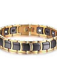 Men's Luxury Jewelry Health Care Gold Stainless Steel Magnetic Therapy Bracelet Christmas Gifts