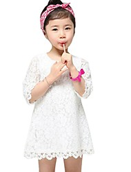 Children Summer Girls Korean Lace Medium-length Sleeve Pure Dress Clothes