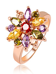 Mixed Color Multicolored Rhinestones Flower Couple Gold Rings