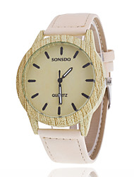 Women/Men's Wooden Leather Band Analog Round Case  Wrist Watch Jewelry