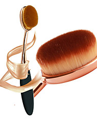 New Pro Cosmetic Makeup Face Powder Blusher Toothbrush Curve Foundation Gold Black Oval Brush