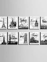 E-HOME® Stretched Canvas Art Famous European Architecture Series Decoration Painting MINI SIZE One Pcs