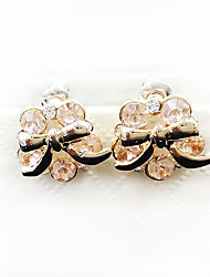 Sweet Style Rose Gold Diamond Bow Lady Earrings