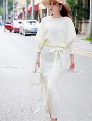 Women's Simple Solid Sweater Dress,Round Neck Maxi Cotton / Polyester