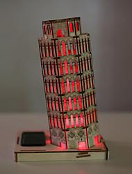 der schiefe Turm von Pisa Gebäude 3 d Puzzle Montage Holz Spielzeug-Modell kreative DIY Solarhausfarbe LED-Leuchten