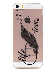 Pour Coque iPhone 5 Transparente Motif Coque Coque Arrière Coque Plume Flexible PUT pour Apple iPhone 7 Plus iPhone 7 iPhone SE/5s/5