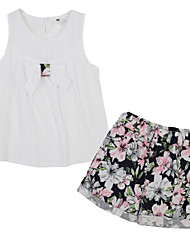 Girl's Floral Clothing Set,Cotton Summer White