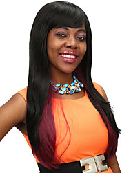 Heat Resistant Cheap Fake Hair Wig 28inch Long Black with Red Synthetic Wigs for Women
