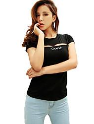 Damen Patchwork T-shirt - Baumwolle Kurzarm Rundhalsausschnitt