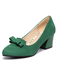 Women's Shoes Fleece Fall Heels / Comfort / Pointed Toe Heels Office & Career / Casual Chunky Heel Bowknot Black / Green / Gray