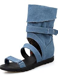Women's Shoes Denim Wedge Heel Comfort Sandals Wedding / Outdoor / Party & Evening / Dress / Casual Black