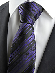 KissTies Men's Tie Purple Black Striped Wedding Formal Business Work Casual Necktie With Gift Box