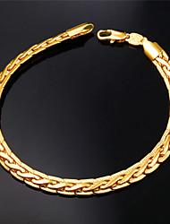 u7® qualité 18k Epais or rempli figaro bracelet chaîne des hommes pour les hommes ou les femmes 6mm 21cm