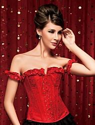 Damen Unterbrustkorsett / Brustkorsett / Übergröße Nachtwäsche,Sexy / Push-Up / Druck / Retro Blumen-Nylon / Polyester Mittelmäßig Rote