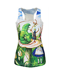 Women's Sports Sexy / Active Summer Tanks,Print U Neck Sleeveless Green Polyester Medium
