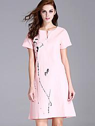 Women's Cute Print A Line Dress,Round Neck Above Knee Linen