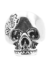 Toonykelly® Vintage Antique Silver Alloy Punk Flower Skull Men Biker Motor Gothic Ring (1pc)