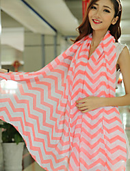 Spring Color Stitching Large Size Chiffon Ripple Waves Stripes Scarf