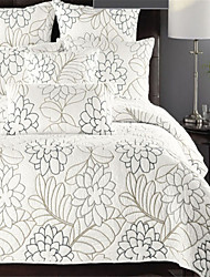 "3PC Quilt Sets Full Cotton Floral Embroidery 88""W*102""L"