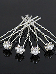 Tire Diamond Hairpins Pearl Wedding Dress Accessories Small Hair Clasp U-Shaped Clip 10pcs