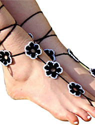 Women's Flowers Crochet Cotton Bracelet Ankle Chain  Barefoot Sandals