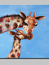 Large Oil Painting Modern Abstract Lovely Giraffe Animal Hand Painted Canvas With Stretched Frame Ready To Hang 80x80cm