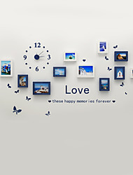 Fashion Wooden Photo Picture Frame Wall Collage Set of 11 Modern with Wall Clock Decal