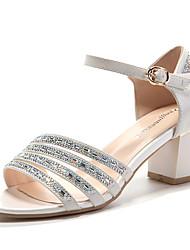 Women's Shoes Leatherette Low Heel Heels / Peep Toe Sandals Wedding / Party & Evening / Dress White / Silver