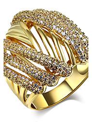 Ringe,vergoldet Kubikzirkonia Runde Form Modisch Hochzeit / Party / Alltag / Normal / N/A Schmuck Damen Bandringe 1 Stück,5 / 6 / 7 / 8 /