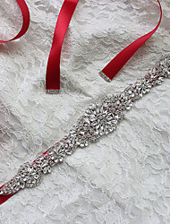 Satin Wedding / Party/ Evening Sash-Rhinestone Women's 98 ½in(250cm) Rhinestone