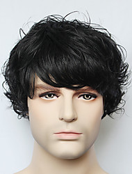 Capless Black Short Wave Man's  Real Human Hair Wig for Men