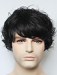 reales peluca de cabello humano sin tapa negro del hombre de onda corta para los hombres