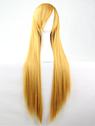 Europe And The United States The New Color Wig 80 CM Slant Yellow Long Straight Hair Wig