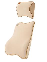 Autoansatzkopfstütze&Rückenlehne Speicher Baumwolle Set - beige