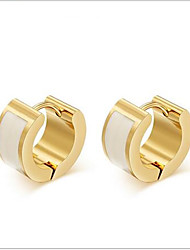 WOMEN Stainless Steel WHITE Hoop Earrings