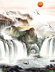 JAMMORY 3D Wallpaper Classical Wall Covering,Canvas Landscape of Mountains and Rivers