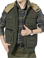 Men's Sleeveless Casual Jacket,Cotton / Polyester Patchwork Brown / Green