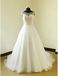 A-line Wedding Dress Court Train Scoop Satin / Tulle with Appliques