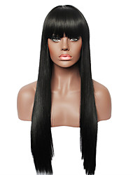 Capless Black Long Straight Real Human hair Wig for Women