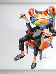 mão pintura a óleo pintado chefe sapo animal com moldura esticada arts® 7 parede