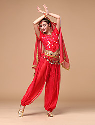 Belly Dance Outfits Women's Performance Chiffon Sequins 3 Pieces Dance Costumes