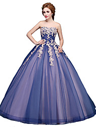 Ball Gown Strapless Floor Length Tulle Formal Evening Dress with Appliques