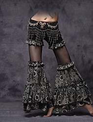 Belly Dance Bottoms Women's Performance Viscose Draped / Pattern/Print / Ruched 1 Piece Black Belly Dance Dropped Pants