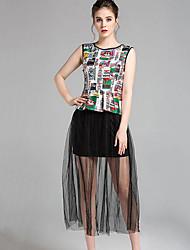 Women's Vintage / Street chic Color Block Patchwork Mesh Fashion Sheath Dress,Round Neck Maxi