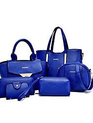 Femme Polyuréthane Formel Décontracté Bureau & Travail Shopping Cabas Ensembles de Sac Blanc Violet Bleu Jaune Rouge Noir