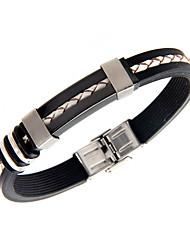 Bracelet Bracelets Rigides Silicone / Acier au titane Mode Quotidien / Décontracté Bijoux Cadeau Noir,1pc