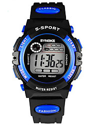 SYNOKE Kids' Wrist watch Digital LCD Calendar Chronograph Water Resistant / Water Proof Alarm Luminous Rubber Band Black