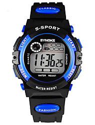 SYNOKE Dětské Náramkové hodinky Digitální LCD Kalendář Chronograf Voděodolné poplach Svítící Pryž Kapela Černá