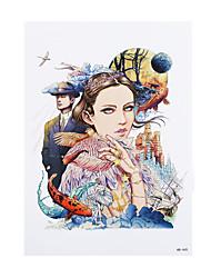 8pcs Frauen Männer temporäre Aufkleber neues Tattoo Schönheit Mädchen Vogelfeder-Henna-Design Body-Art wasserdichte Tattoo-Aufkleber